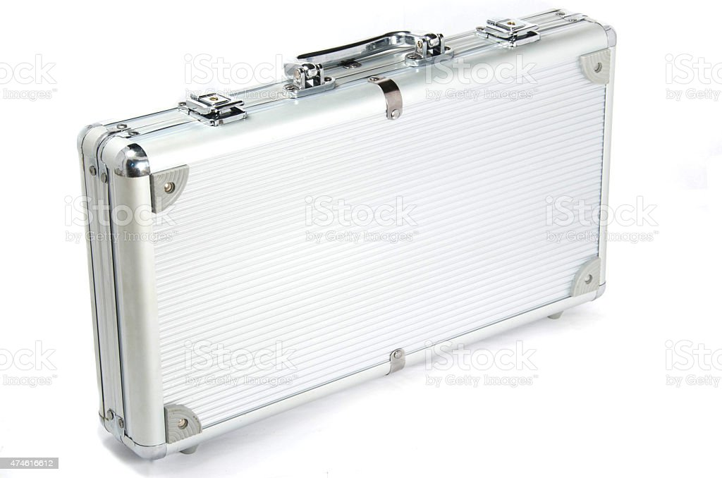 the aluminium suitcase with poker set stock photo