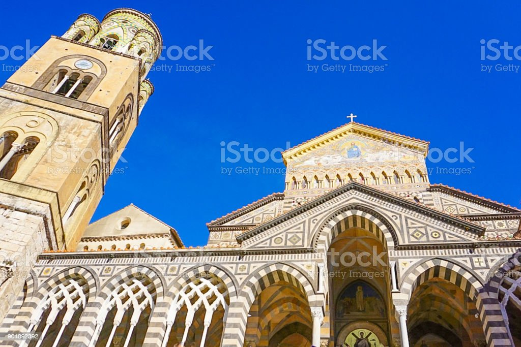 The Amalfi Cathedral in Amalfi, Italy stock photo