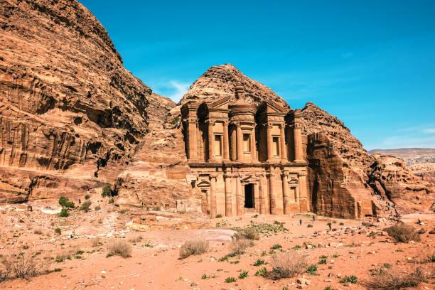 the amazing Ad Deir, The Monastery with blue sky stock photo