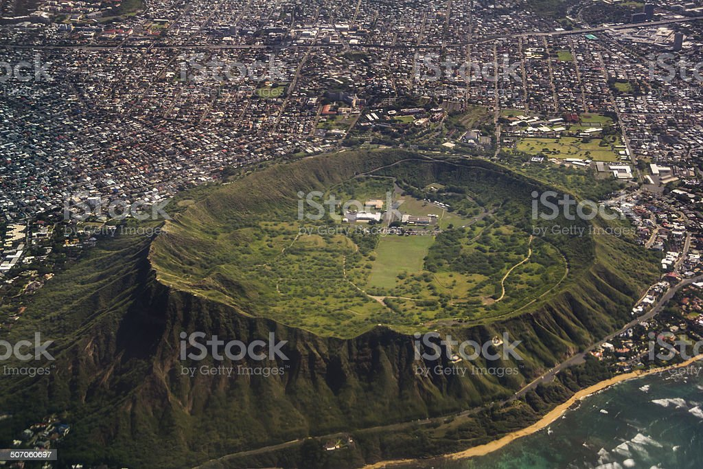 The Amazing Crater of Diamond Head, Honolulu, Oahu, Hawaii. stock photo