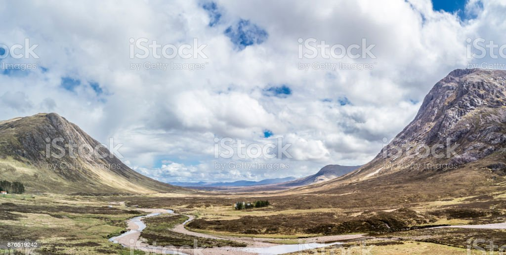 The amazing landscape between Beinn a'Chrulaiste and Buachaille Etive Mor stock photo