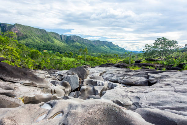 The amazing Moon Valley The beauty of Vale da Lua (Moon Valley), at Chapada dos Veadeiros, Goias, Brazil goias stock pictures, royalty-free photos & images