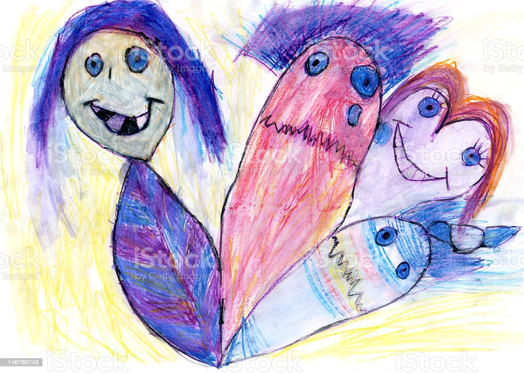 CHILD'S ARTWORK - 'The Amazing Puppet Show' royalty-free stock photo