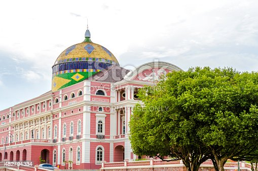 Manaus, Brazil - March 22, 2014: The Amazon Theatre located in Manaus, in the heart of the Amazon rainforest in Brazil. It is the location of the annual Festival Amazonas de Ópera (Amazonas Opera Festival) and the home of the Amazonas Philharmonic Orchestra which regularly rehearses and performs at the Amazon Theater along with choirs, musical concerts and other performances.