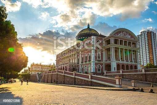 Manaus, Brazil - September 9, 2015: The Amazon Theatre located in Manaus, in the heart of the Amazon rainforest in Brazil. It is the location of the annual Festival Amazonas de Ópera (Amazonas Opera Festival) and the home of the Amazonas Philharmonic Orchestra which regularly rehearses and performs at the Amazon Theater along with choirs, musical concerts and other performances.