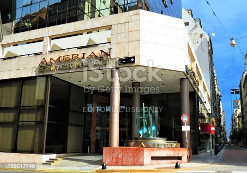 Buenos Aires, Argentina - February 08 , 2018. The Amerian Buenos Aires Park Hotel Facade building in the city centre.