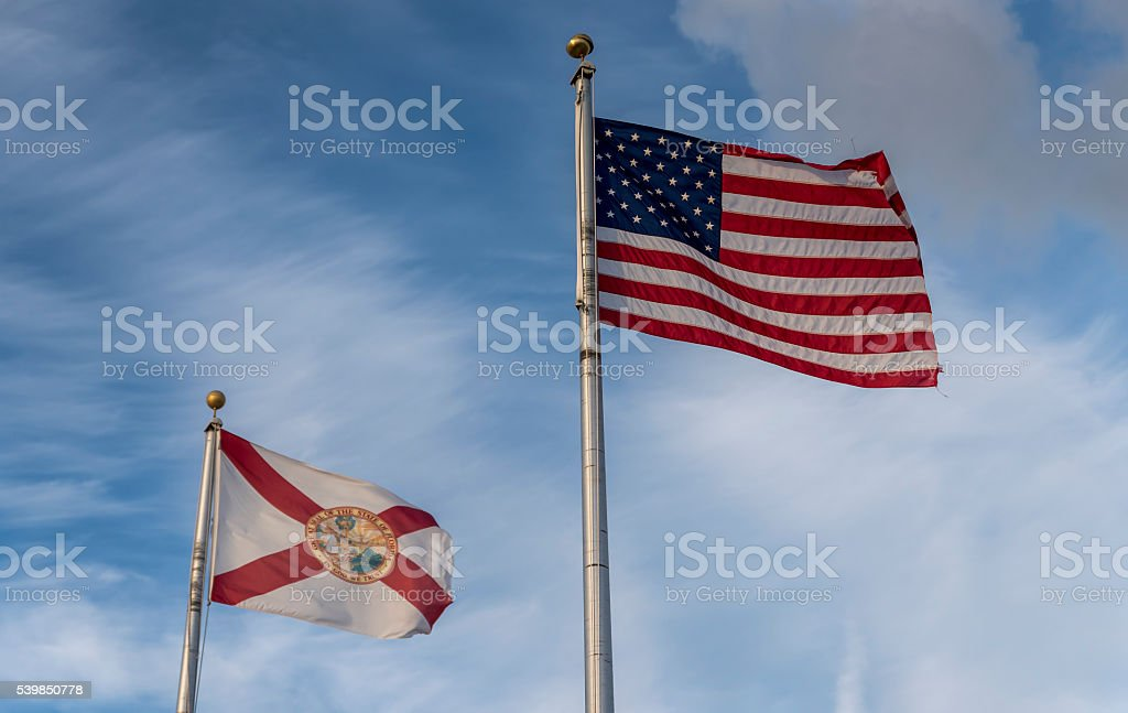 the American and Florida State flag stock photo