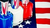 Vibrant American flag with red, white and blue nail polish