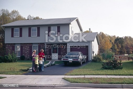 Ohio (exact location unfortunately not known), USA, 1976. The American Dream: house, car, property and family.