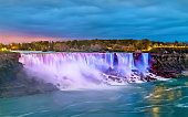 The American Falls and the Bridal Veil Falls at Niagara Falls as seen from the Canadian side
