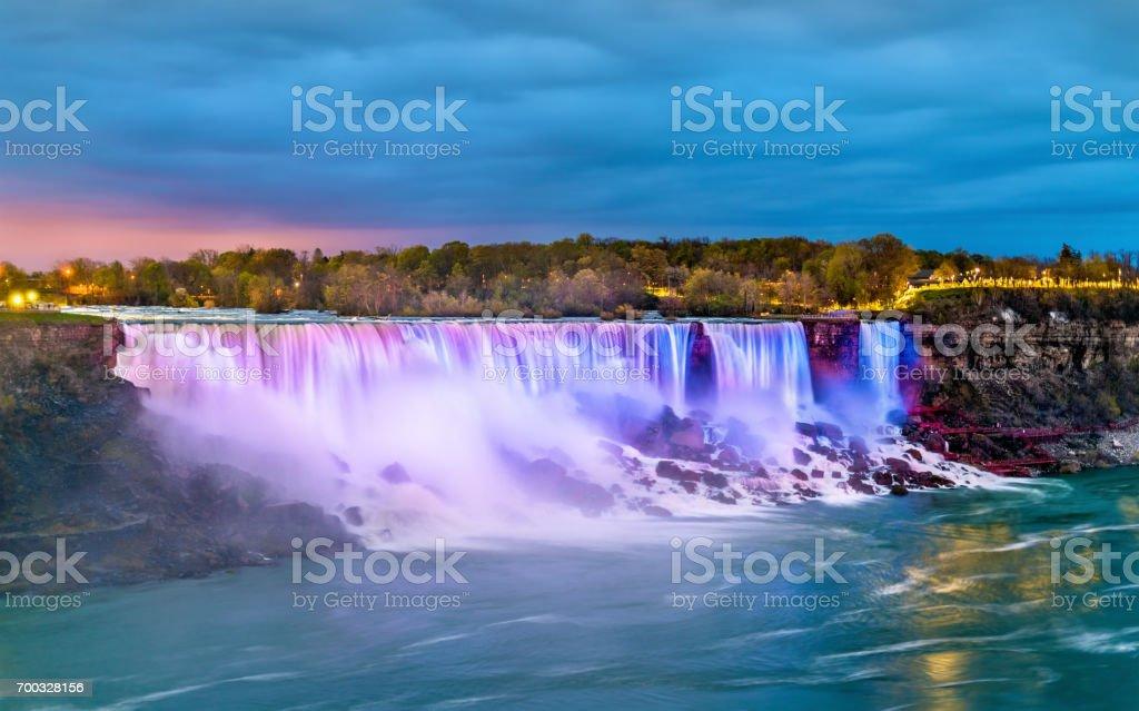 The American Falls and the Bridal Veil Falls at Niagara Falls as seen from Canada stock photo