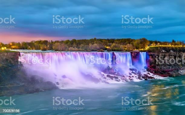 Photo of The American Falls and the Bridal Veil Falls at Niagara Falls as seen from Canada
