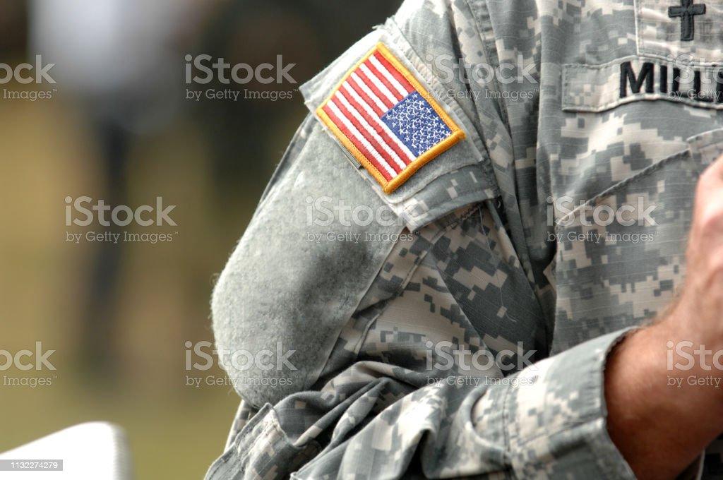 アメリカ軍の制服に付けられたアメリカの旗 - 1人のストックフォトや ...