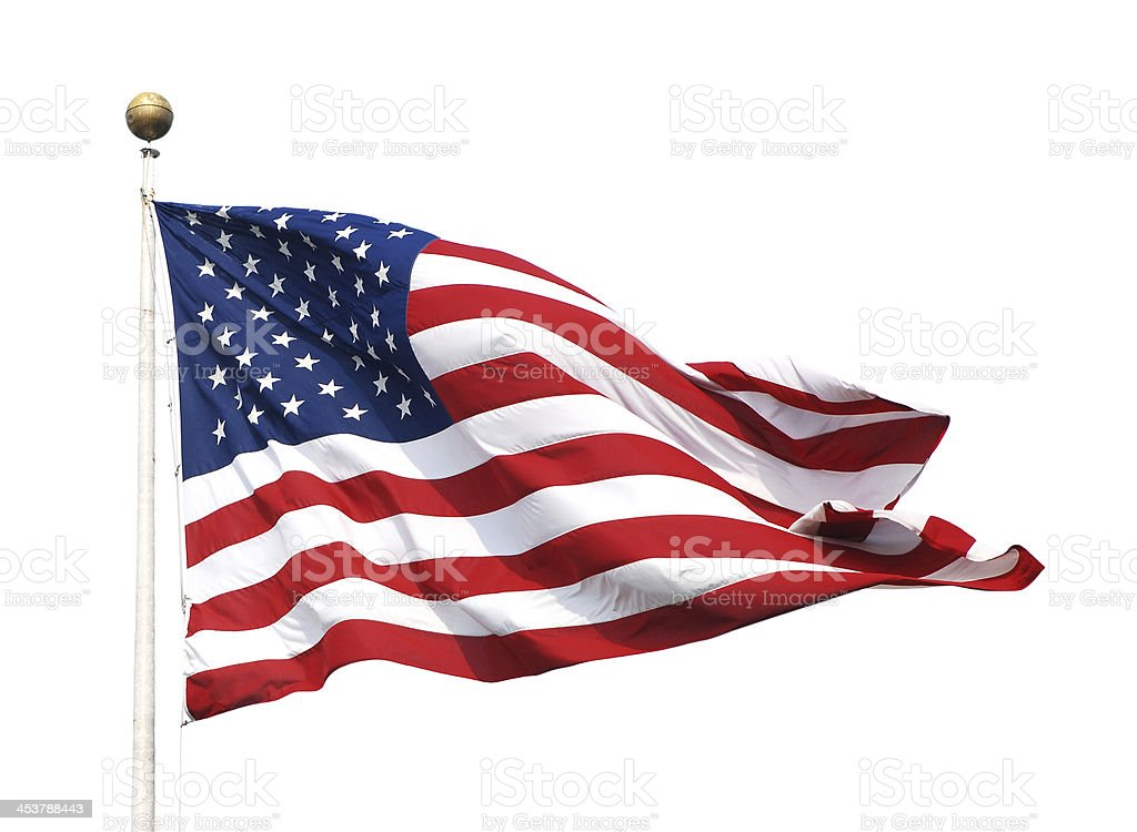 The American flag on a flagpole stock photo