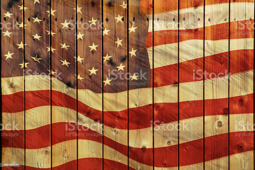 The American flag on wood planks stock photo