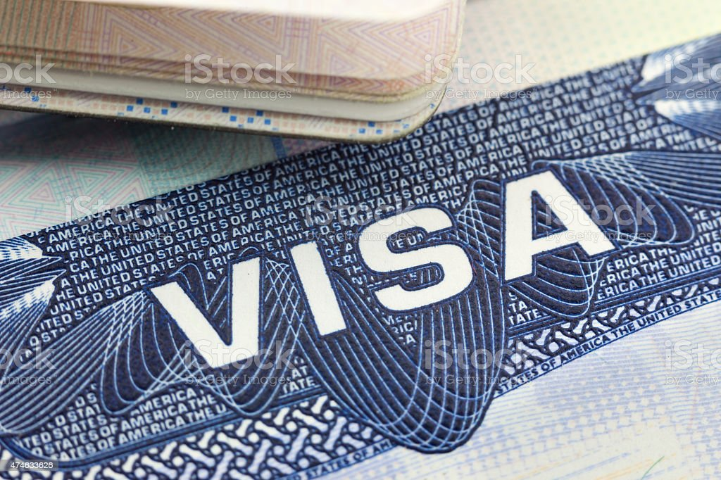 The American Visa in a passport page (USA) stock photo