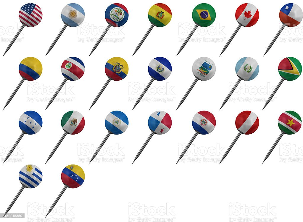 The Americas - Flag Push Pins royalty-free stock photo