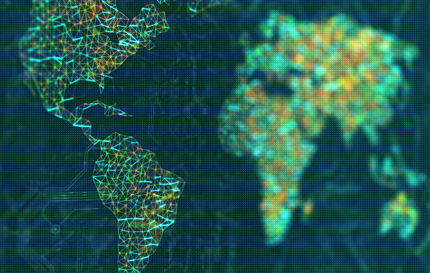 The Americas in focus The map of the world represented by illuminated digital connections. 3D image with depth of field on a LED screen. latin america stock pictures, royalty-free photos & images