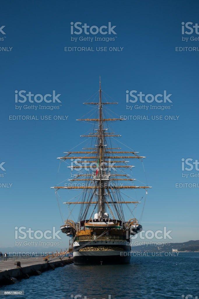 The Amerigo Vespucci is a tall ship of the Marina Militare, named after the explorer Amerigo Vespucci. moored at pier of the Trieste Commercial Sea Port. - foto stock