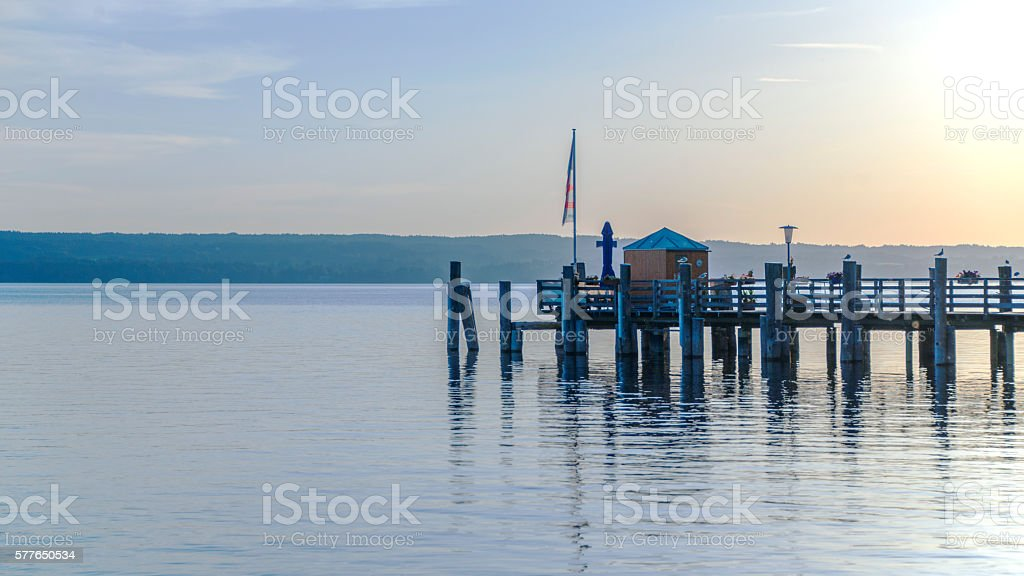 The Ammersee lake in the late afternoon stock photo