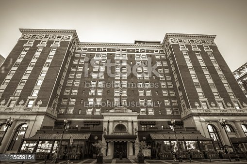 Grand Rapids, Michigan, USA - August 17, 2016: Exterior of the historic Amway Hotel. Formerly the Pantlind Hotel, the historic luxury hotel was opened in 1913. The hotel remains in operation today.