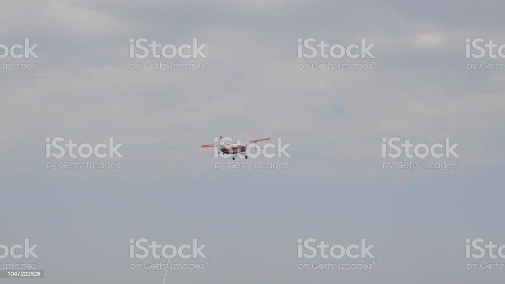 MOSCOW - SEP 2: The An-2 aircraft flies in the sky at a celebration in honor of the 70th anniversary of the launch of the first aircraft on September 2, 2017 in Moscow, Russia. stock photo