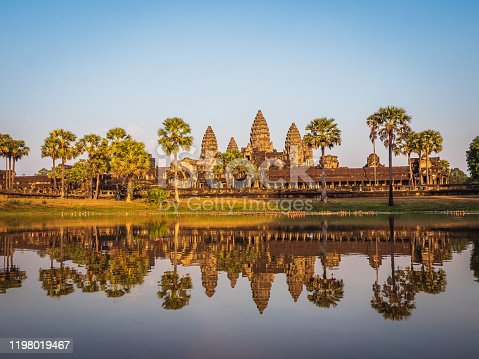 The ancient Angkor Wat temple ruins, Siem Reap, Cambodia, Old Khmer architecture
