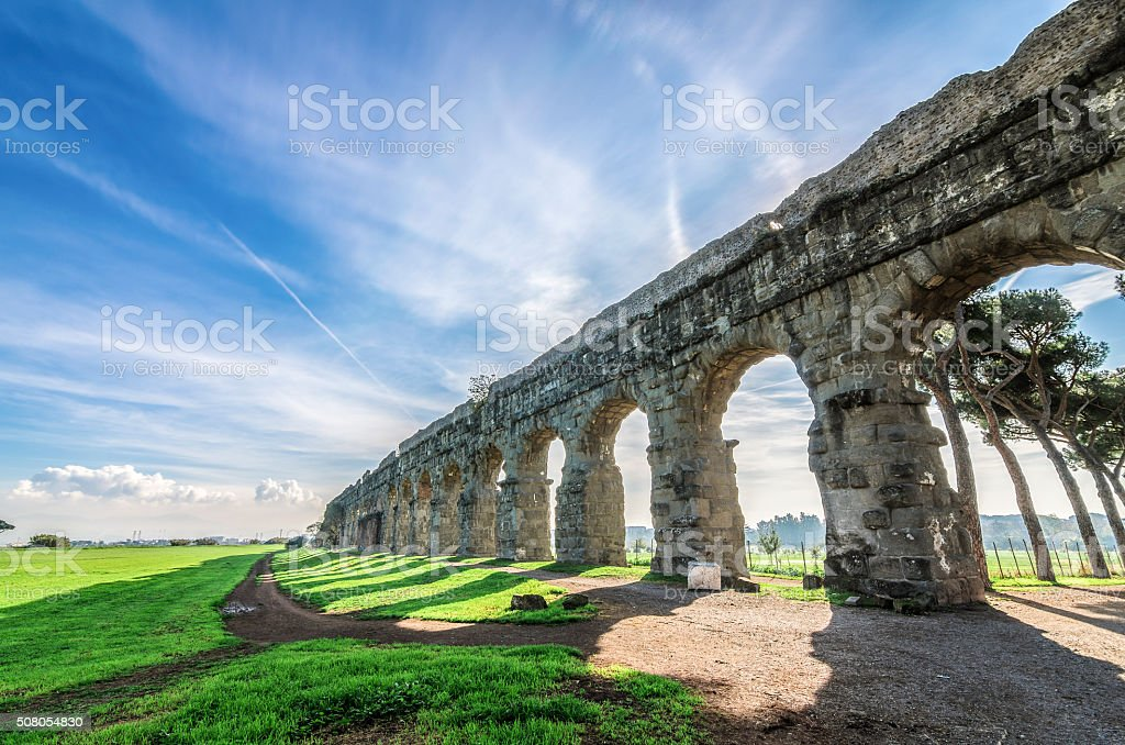 The ancient Aqueduct in Rome stock photo