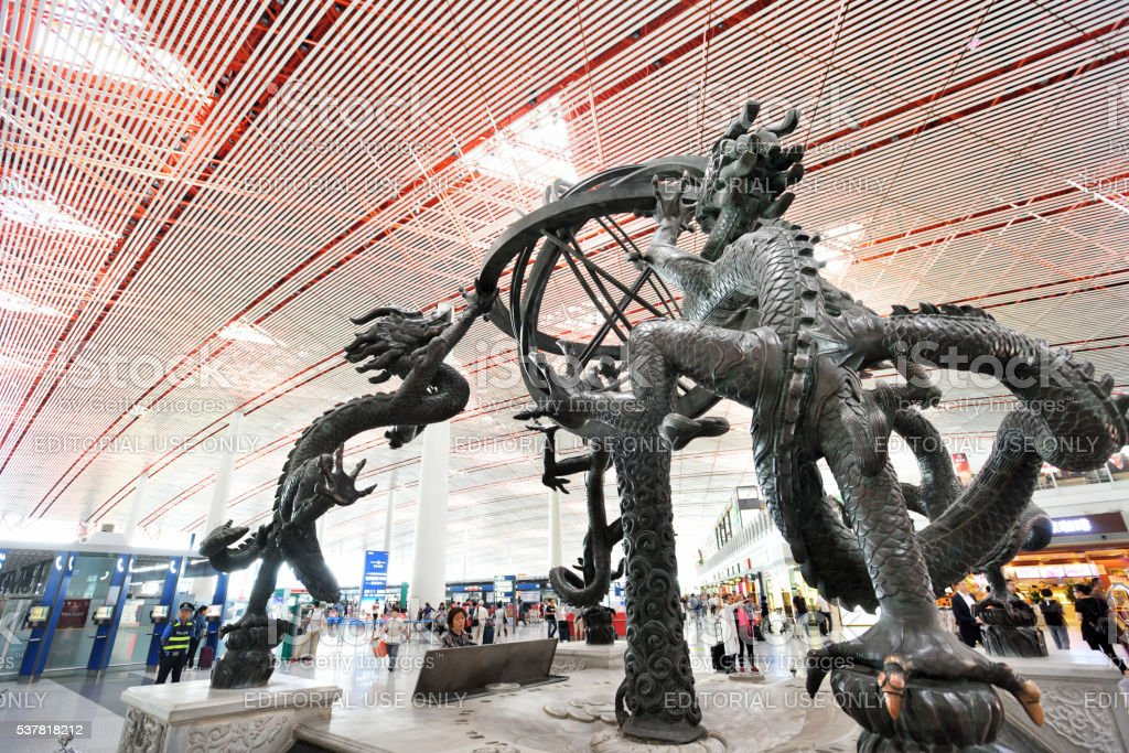 The ancient armillary sphere statue in Beijing Captial International Airport. stock photo