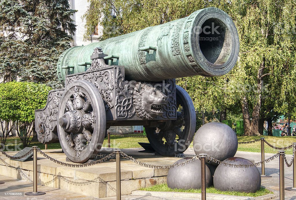 The ancient biggest cannon in Moscow Kremlin (Tsar Cannon) stock photo