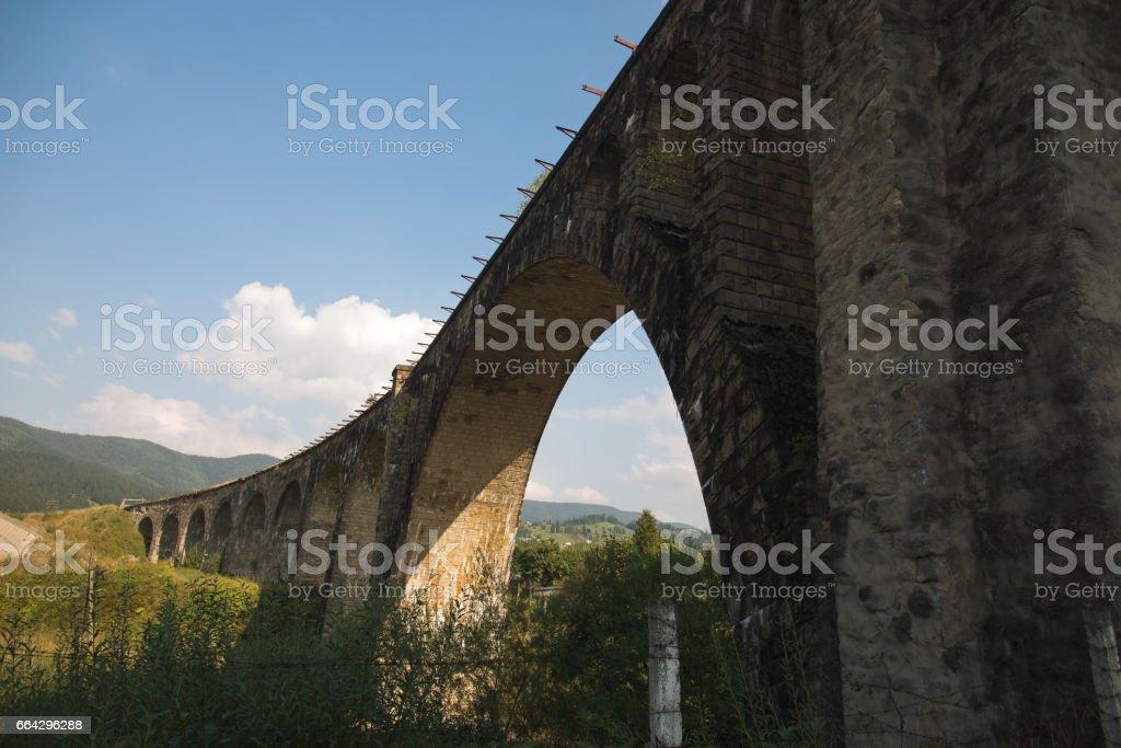 The ancient bridge. Carpathians. The village of Vorokhta. stock photo