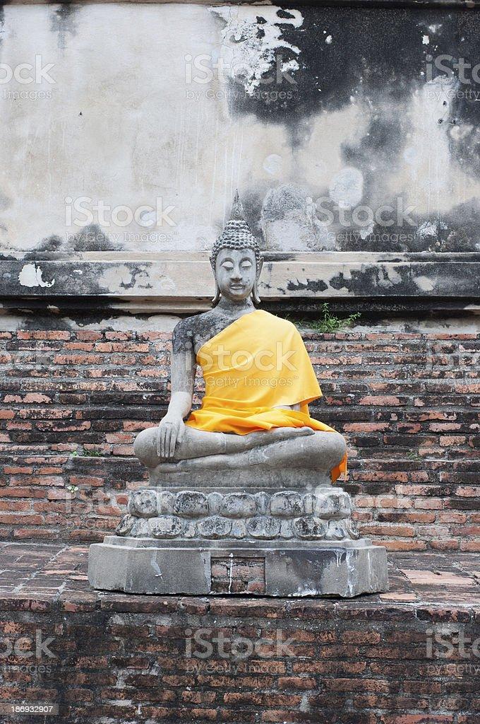 the ancient buddha statue in Ayathaya, Thailand royalty-free stock photo