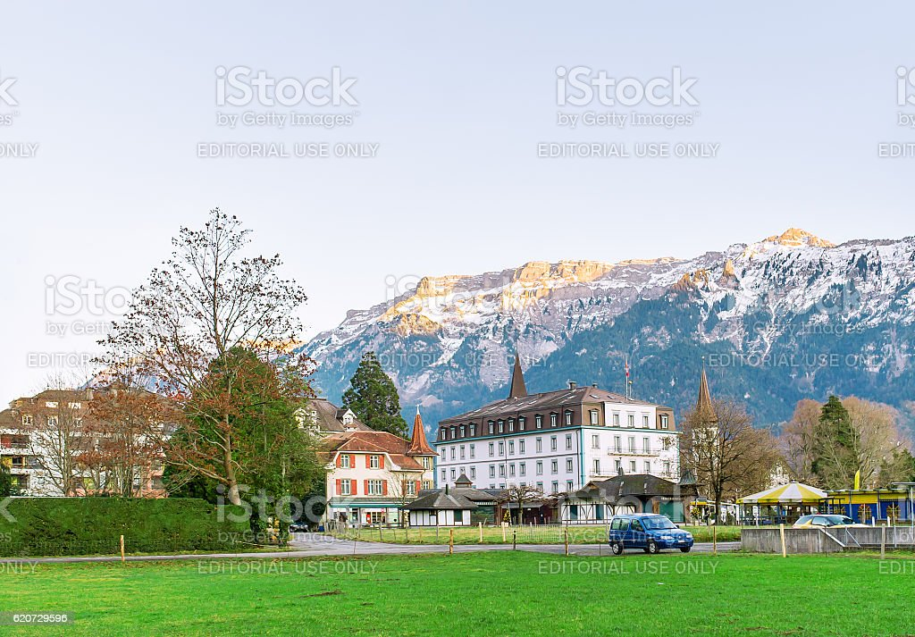 The ancient castle against the background of mountains stock photo