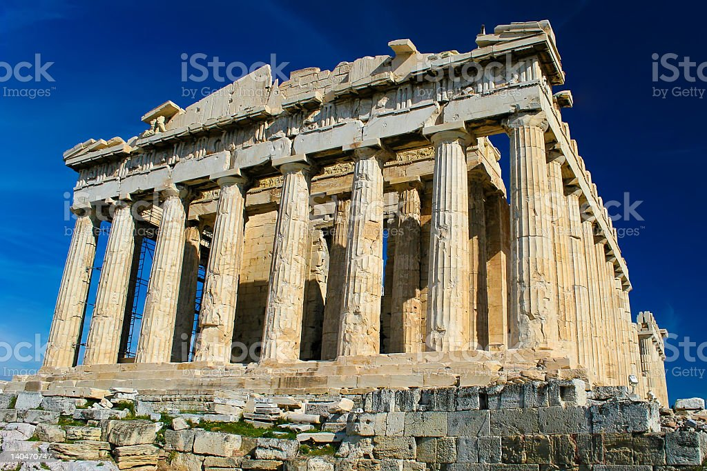 The ancient Greece temple the Parthenon stock photo
