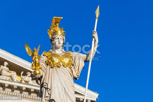 istock The ancient Greek Goddess Athena in front of the Austrian Parliament Building 1177106472