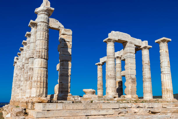 The Ancient Greek temple of Poseidon at Cape Sounion stock photo