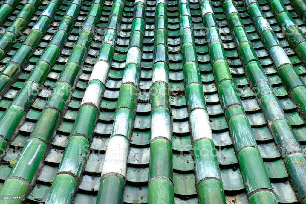 The ancient green glazed tile roof, located in the temple of Wudang mountain, stock photo
