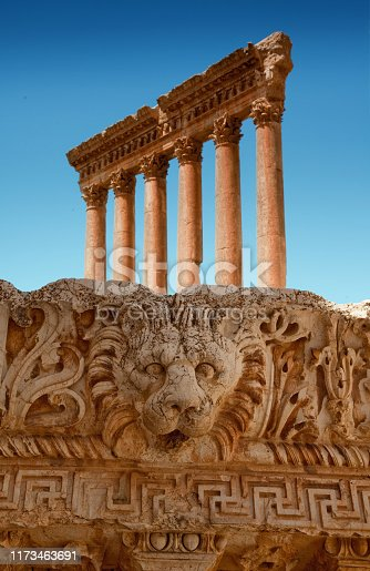 View of Baalbek (Baalbak), the ancient Heliopolis, famous for the ruins of an important Roman city - Lebanon