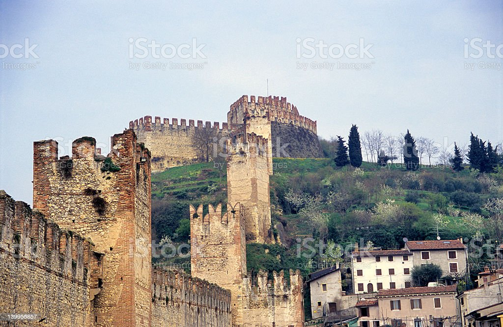 The Ancient Italian Walled City, Soave stock photo