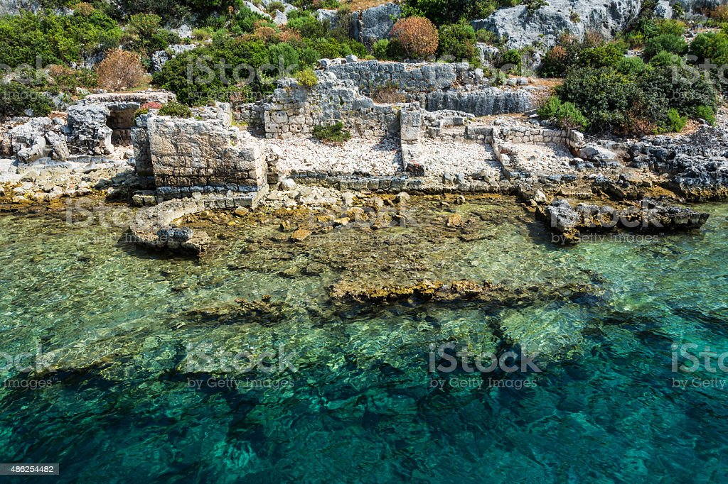 The ancient Lycian sunken city of Simena, Kekova stok fotoğrafı