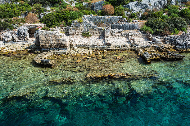 The ancient Lycian sunken city of Simena, Kekova Simena is a popular Lycian site, situated upon one of the most attractive spots of the Turkish coast.  The name