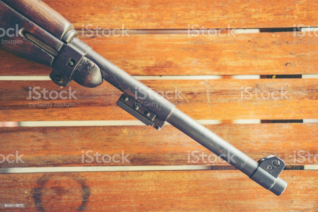 The ancient machine gun of the Second World War. the bullet of the gun looks at point blank range. Pointed soft short selective focus nozzle of the machine gun stock photo
