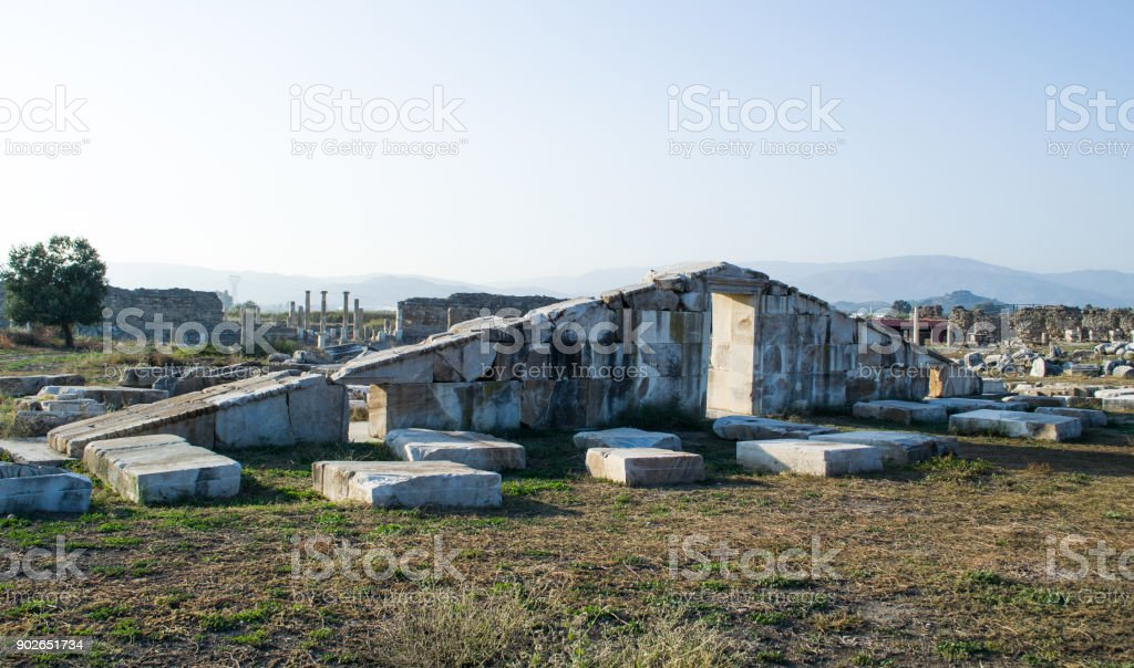 The Ancient Magnesia city temple of Artemis stock photo