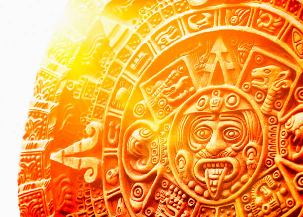 The  ancient Mexican Stone of the Sun stock photo