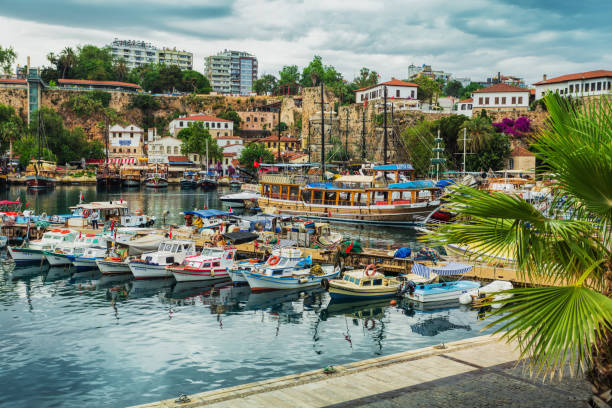 The ancient port of the old city of Antalya stock photo