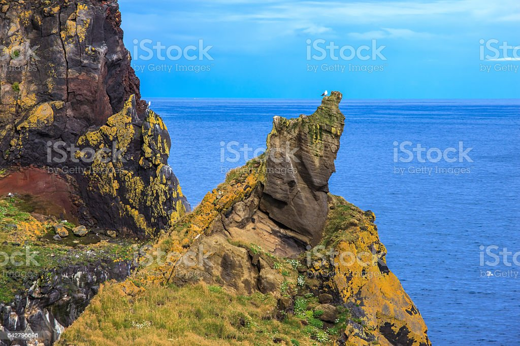 The ancient rocks covered with  moss stock photo