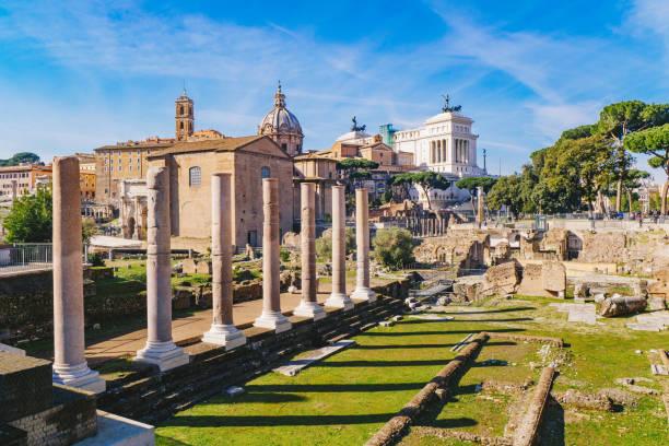 The ancient Roman columns in the Roman Forum, Rome, Italy 2018 stock photo
