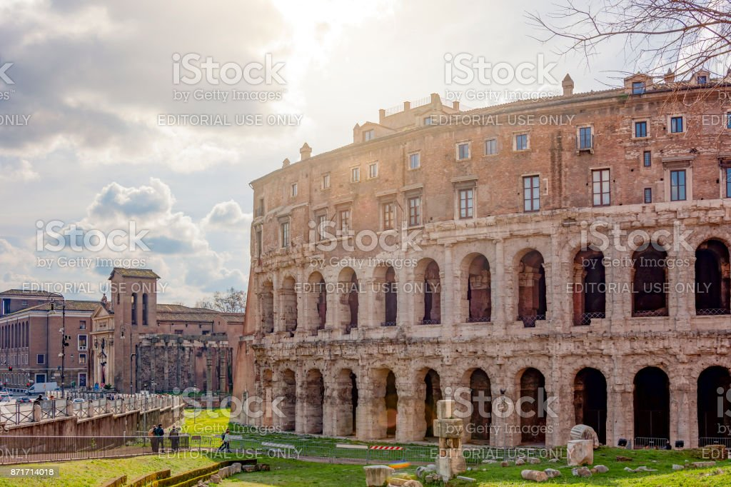 The ancient roman Theatre of Marcellus in Rome stock photo