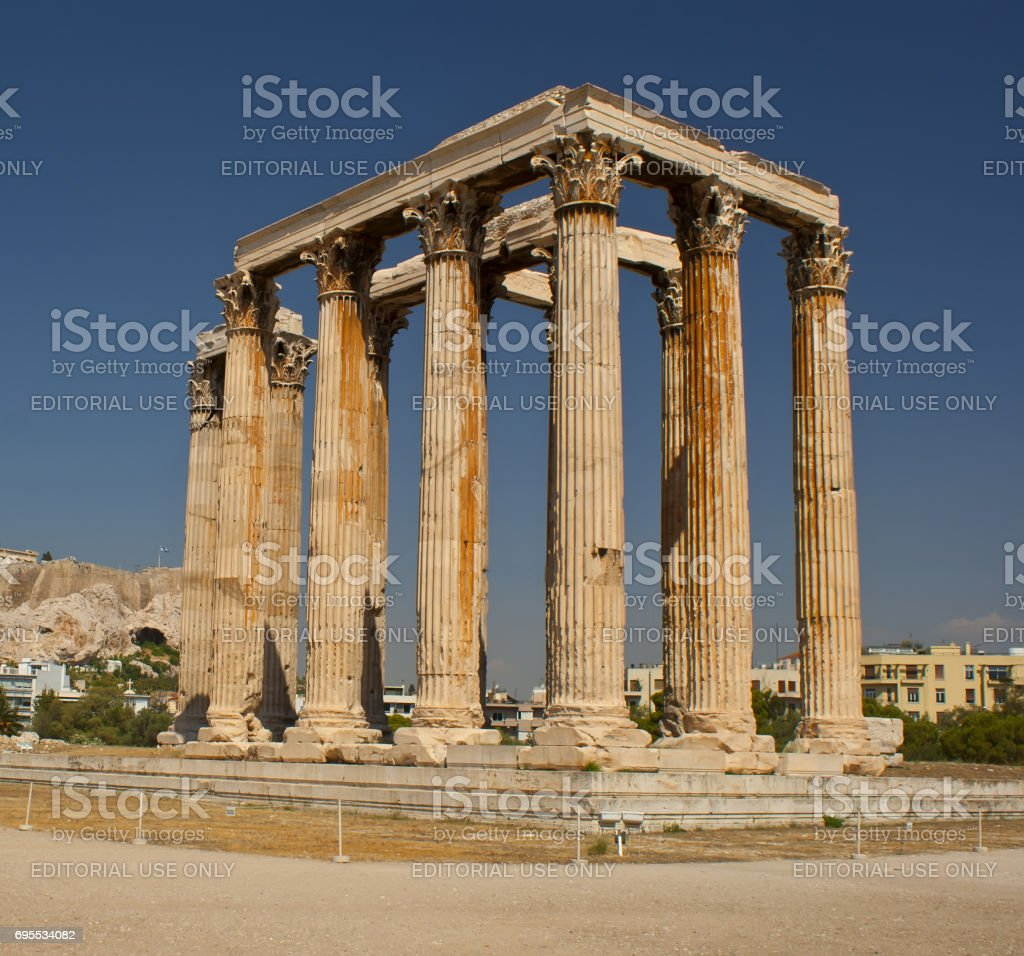 The ancient ruined Temple of Zeus in Athens. Ancient architecture of Greece.'n stock photo