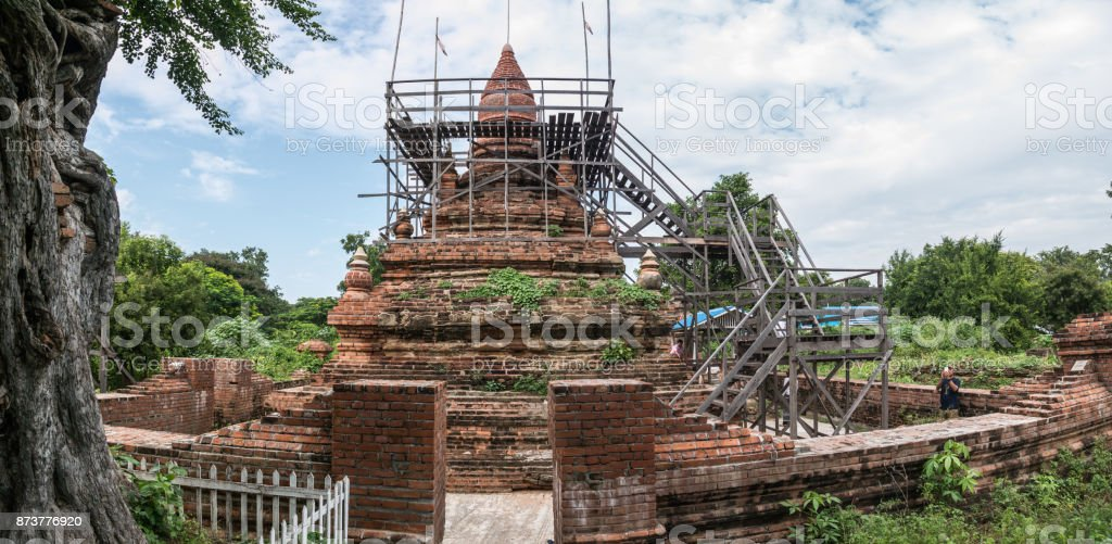 The ancient ruinous stupa at Lin Zin Kon cemetery, Amarapura, Myanmar stock photo